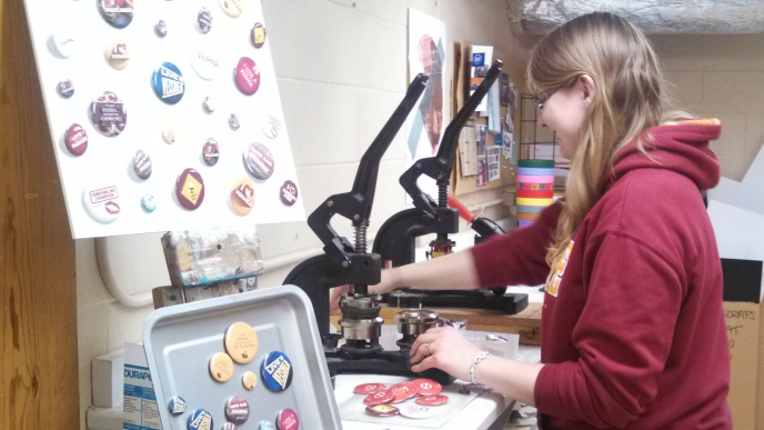Button Making at The Workspace
