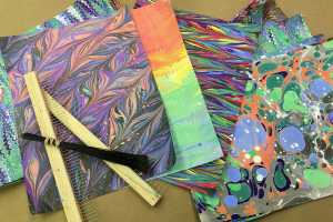 Marbled Paper and Book Binding Class at The Workspace